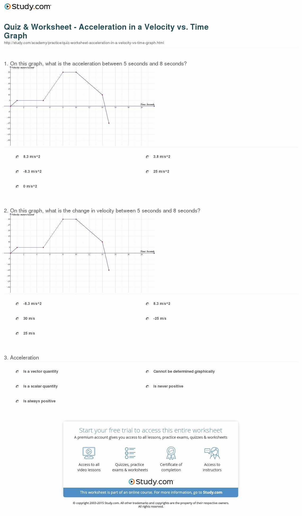50 Displacement Velocity And Acceleration Worksheet