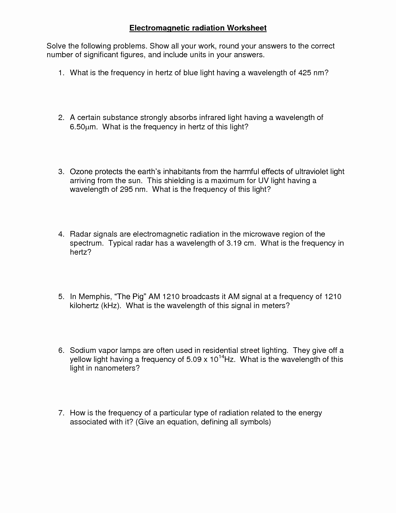50 Electromagnetic Spectrum Worksheet Answers