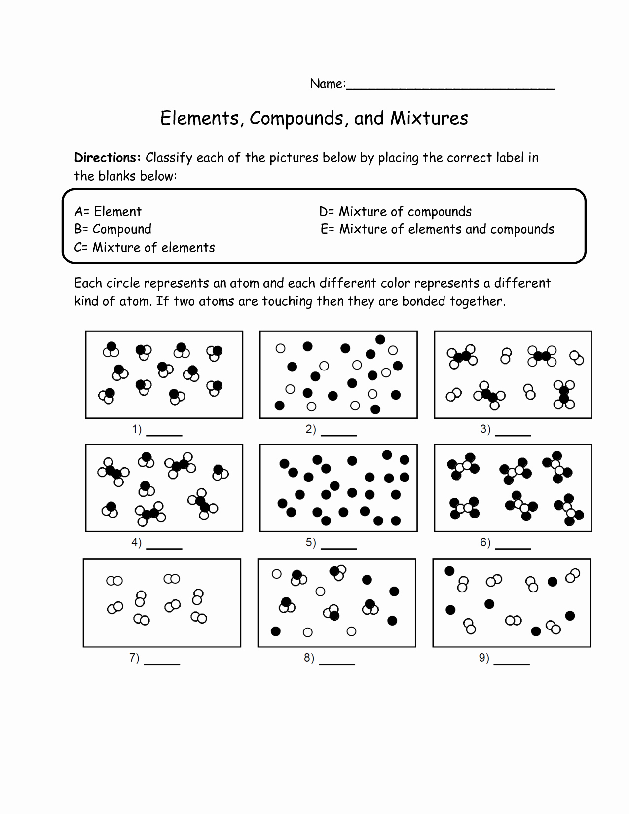 50 Element Compound Mixture Worksheet