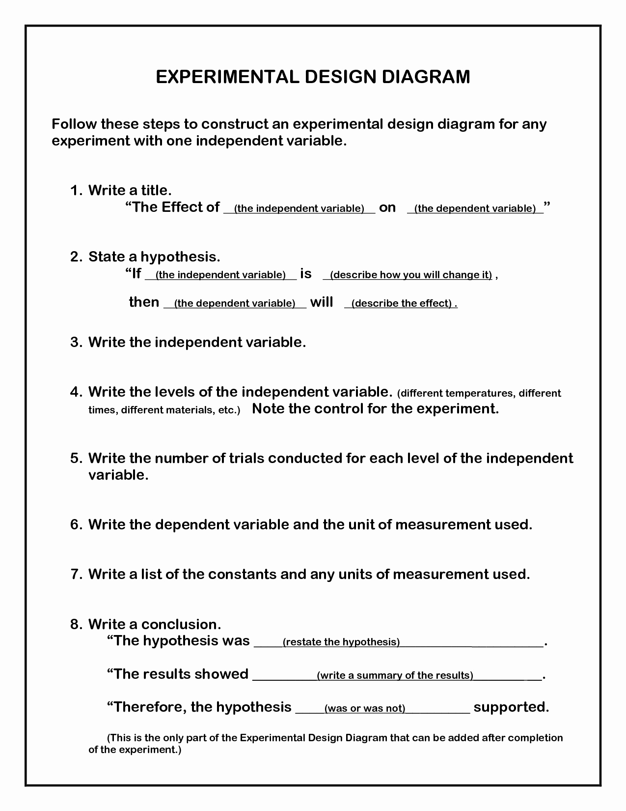 50 Experimental Design Worksheet Answers