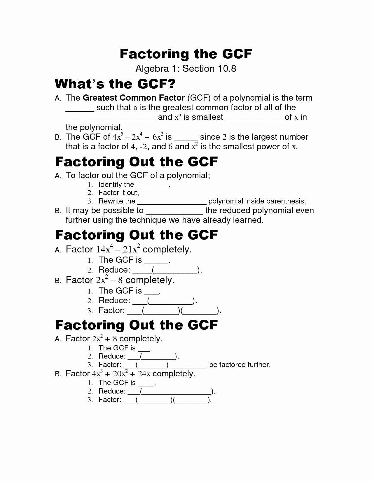 50 Factoring Greatest Common Factor Worksheet