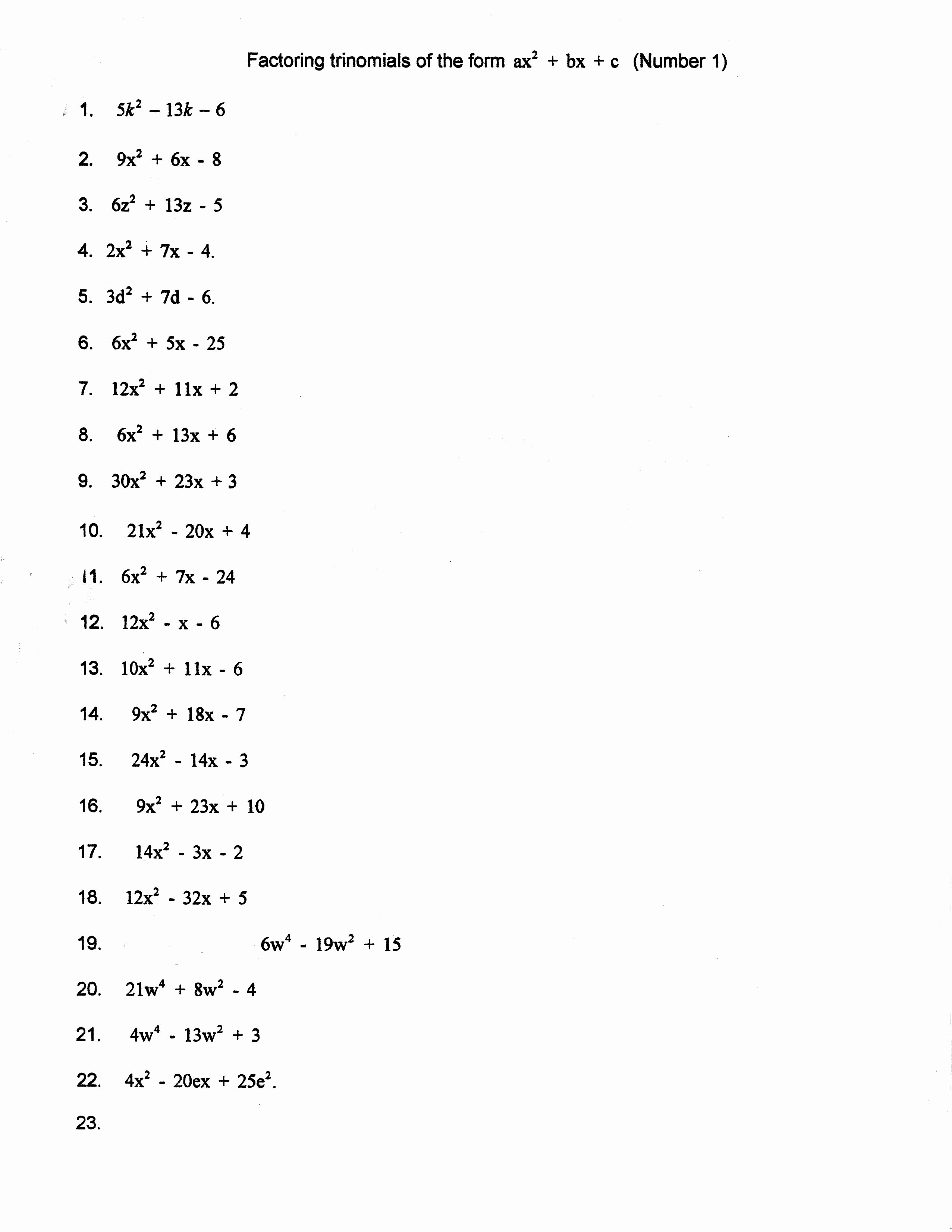 46 Factoring Quadratic Trinomials Worksheet
