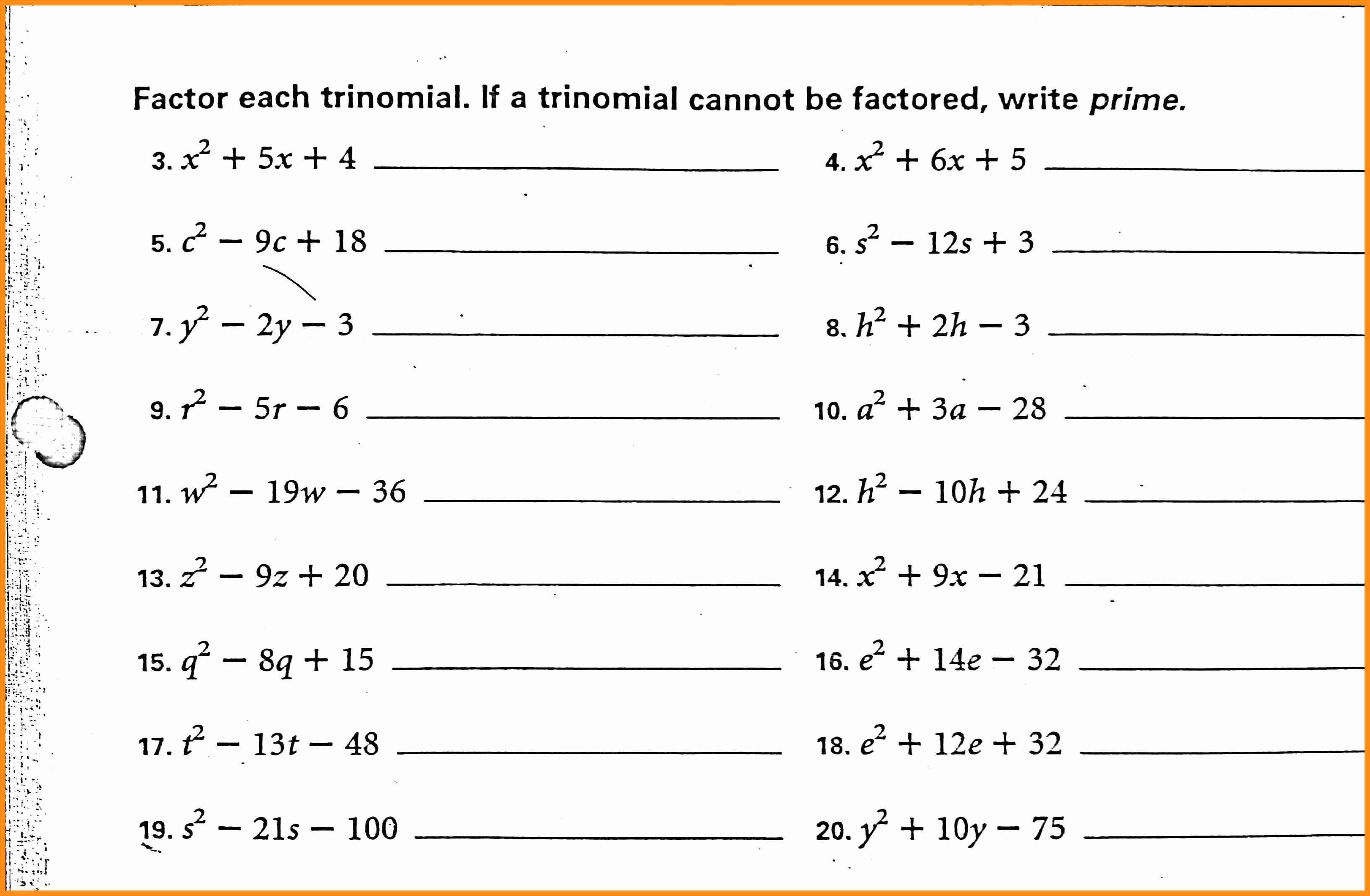 50 Factoring Trinomials Practice Worksheet