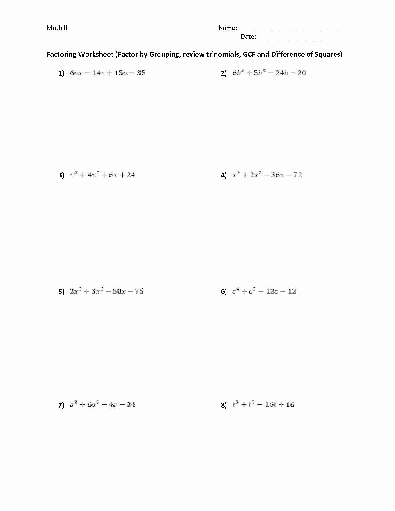50 Factoring Trinomials Worksheet Answers