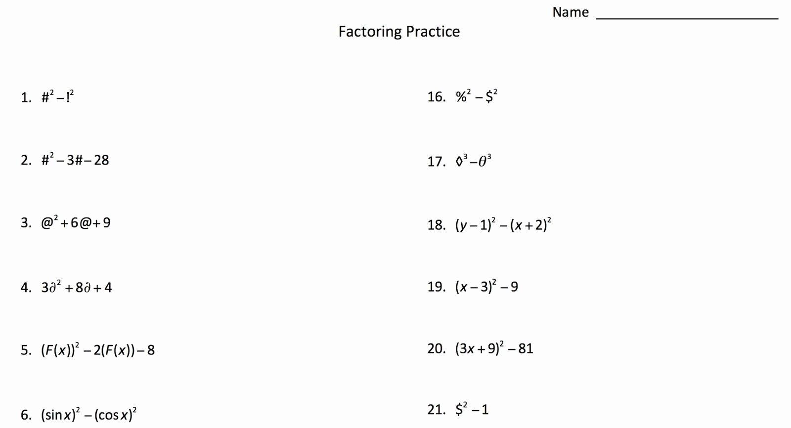 50 Factoring Worksheet Algebra 2