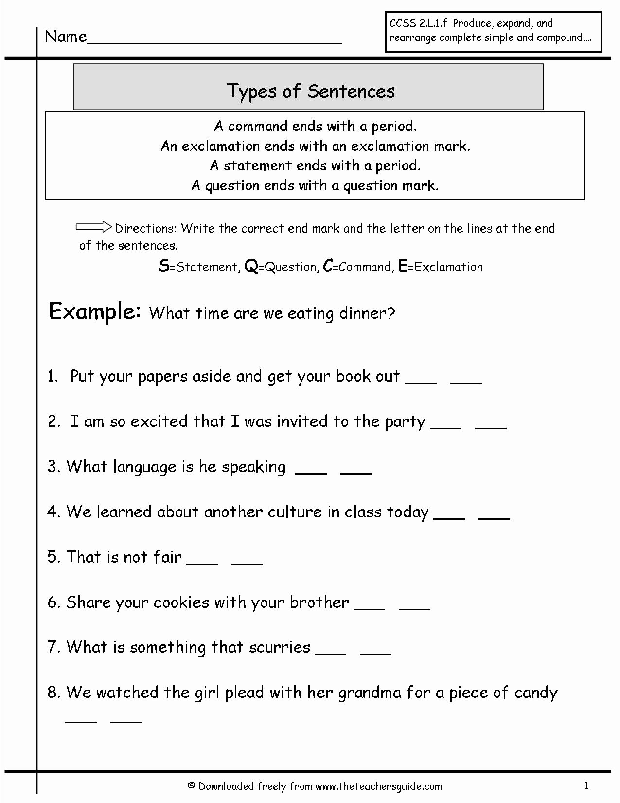 50 Four Types Of Sentences Worksheet