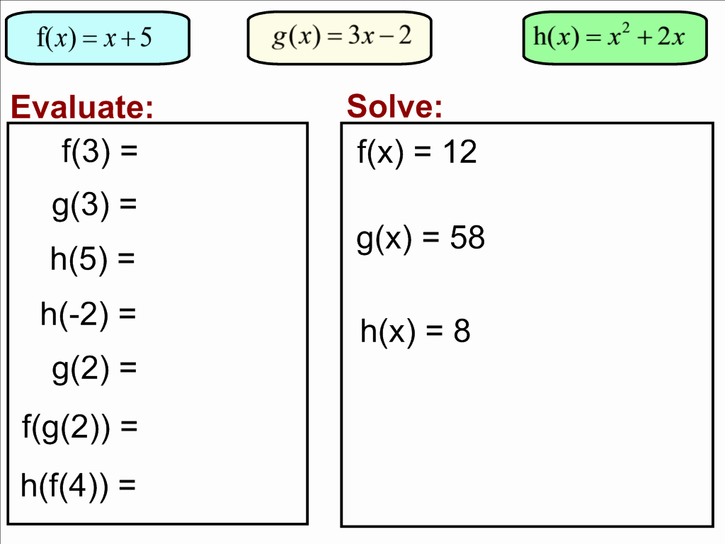 50 Function Notation Worksheet Answers