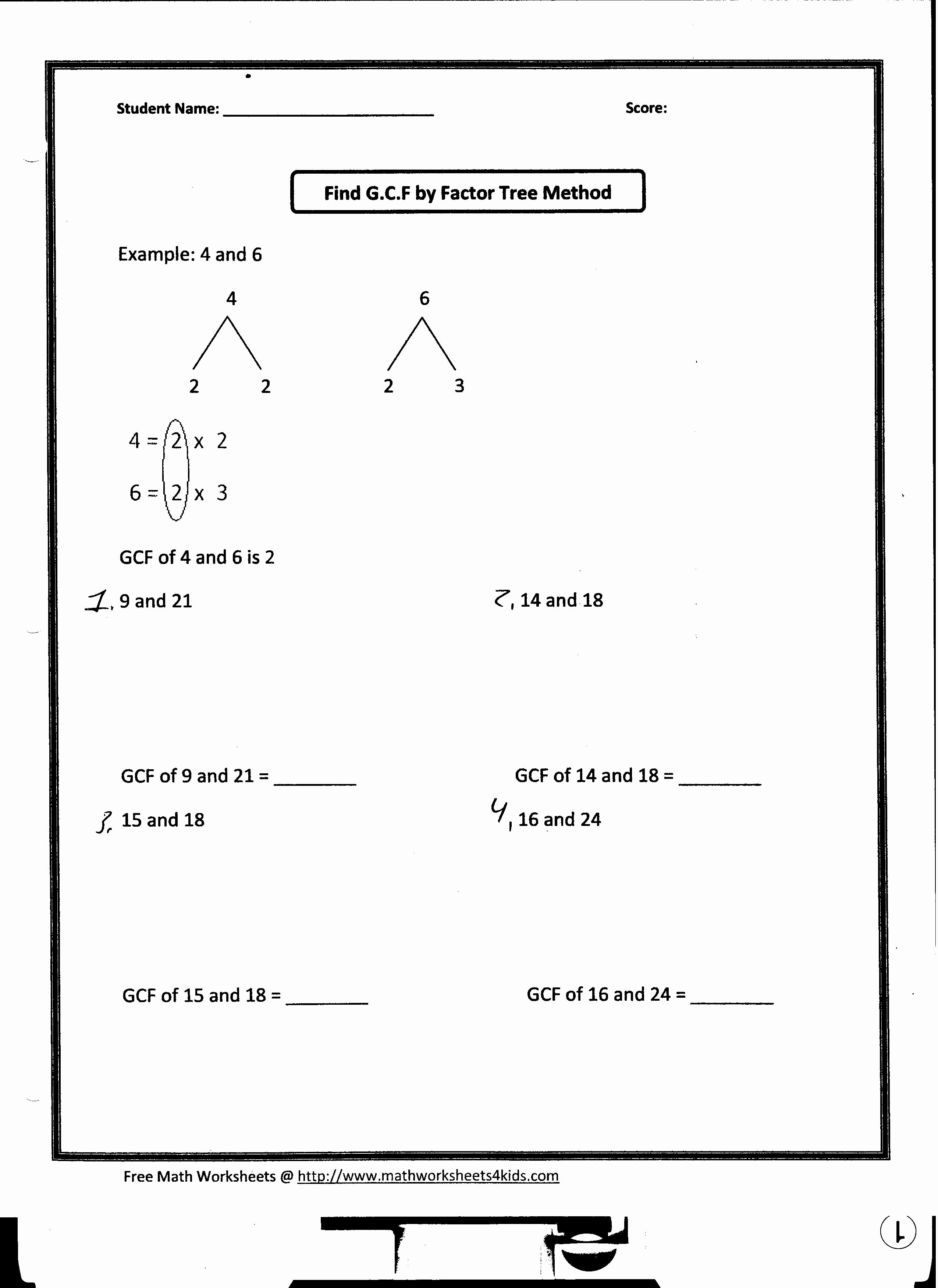50 Greatest Common Factor Worksheet