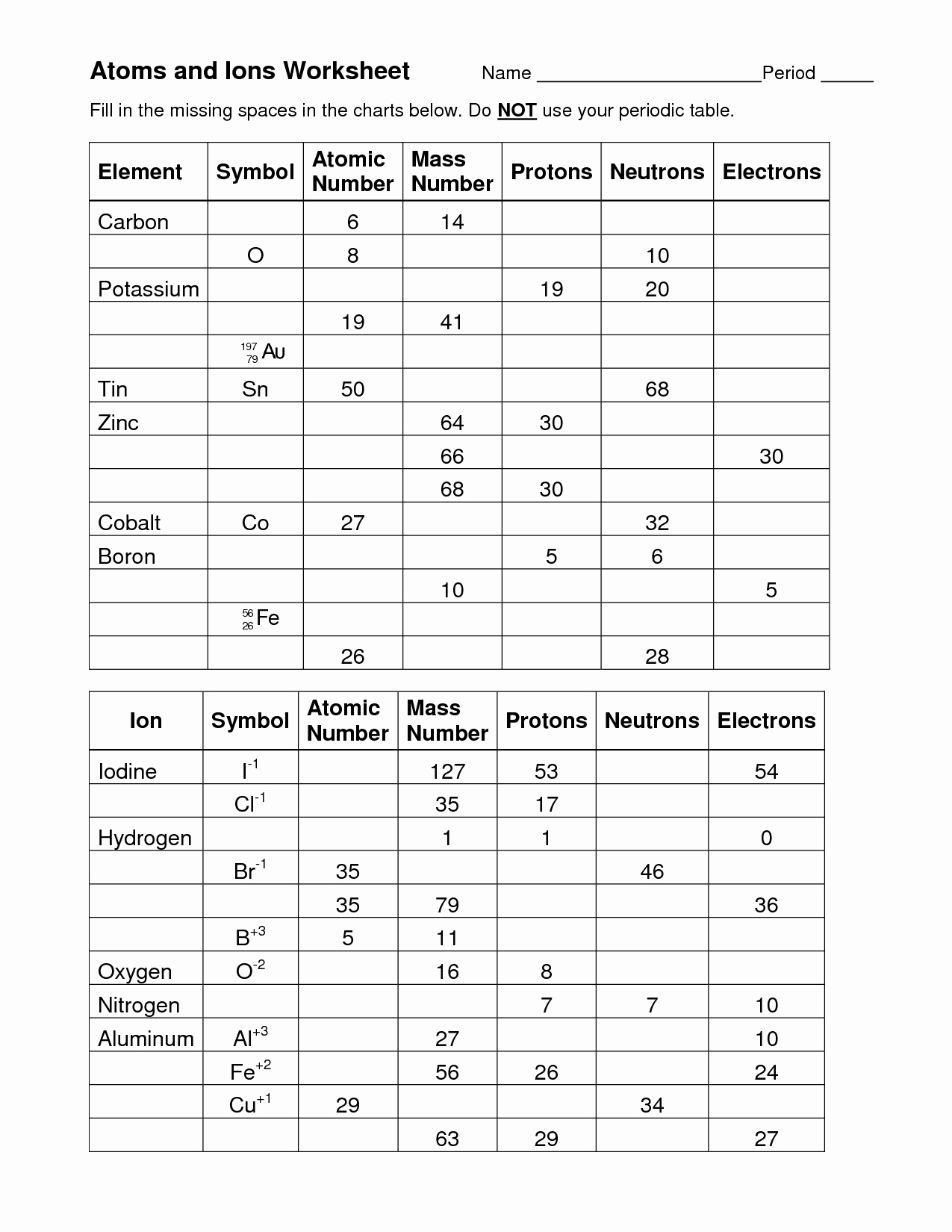 50 Isotopes Ions And Atoms Worksheet