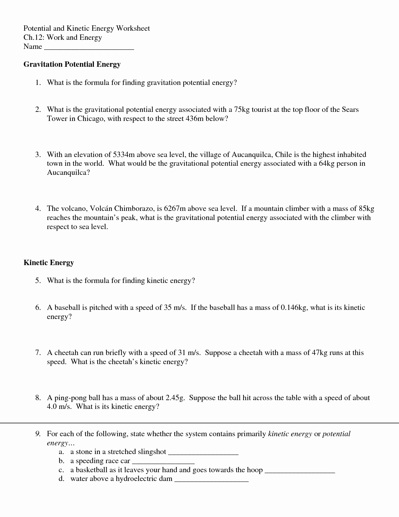50 Kinetic And Potential Energy Worksheet