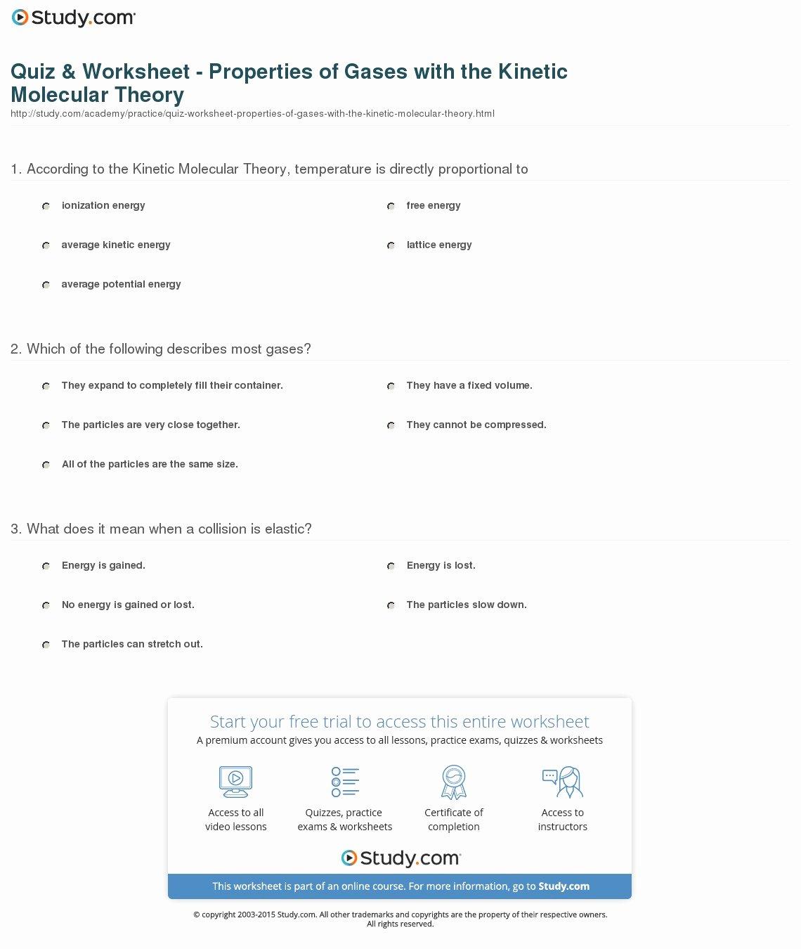 50 Kinetic Molecular Theory Worksheet
