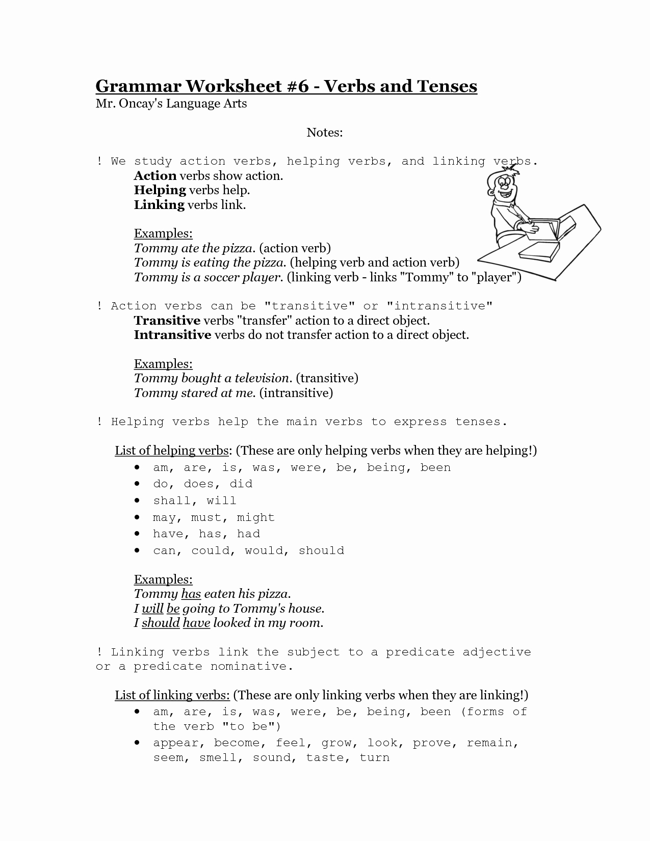 50 Linking And Helping Verbs Worksheet