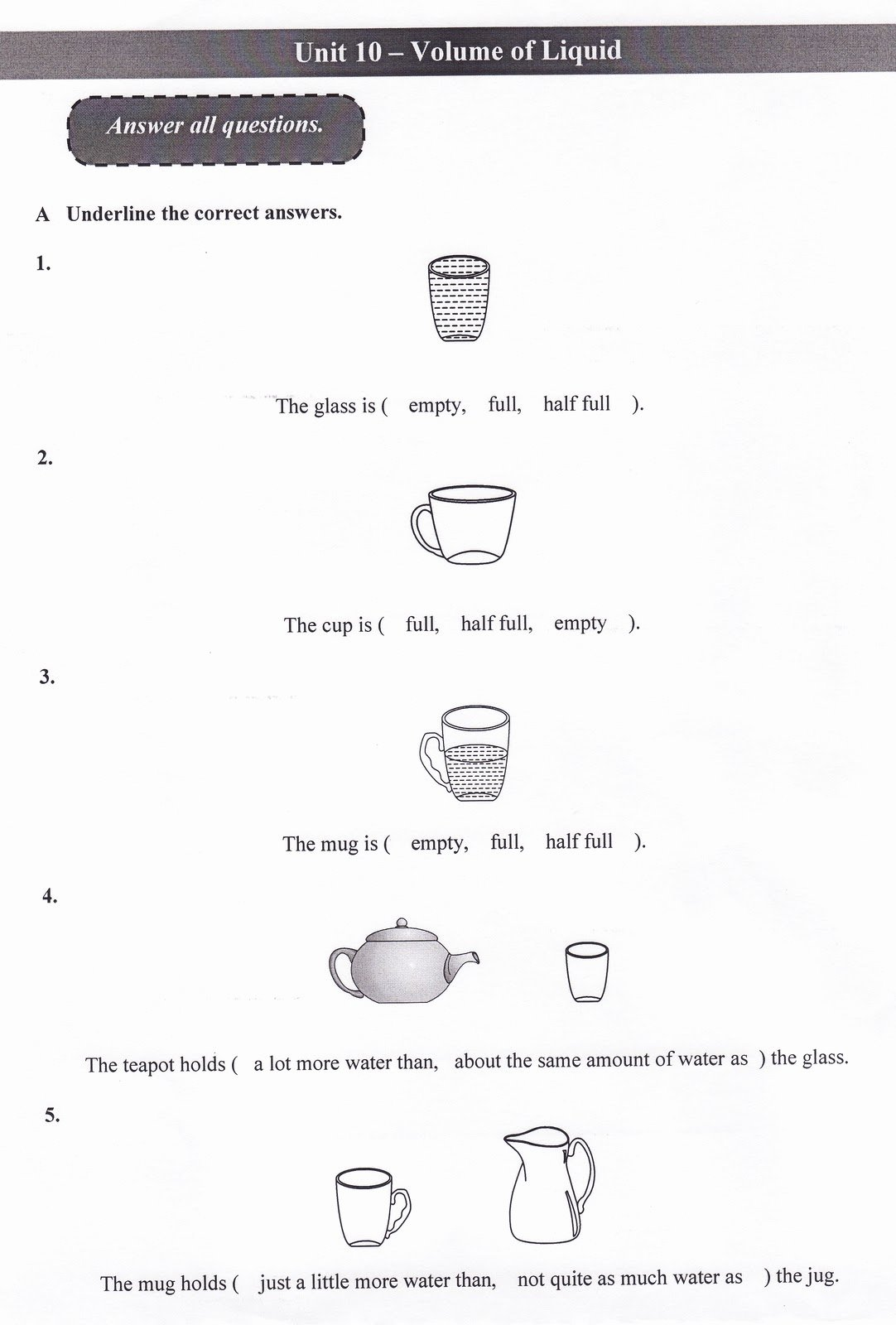 50 Measuring Liquid Volume Worksheet