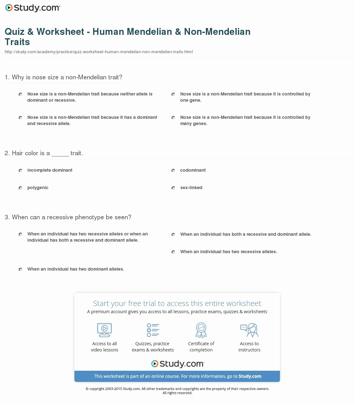 50 Mendelian Genetics Worksheet Answers