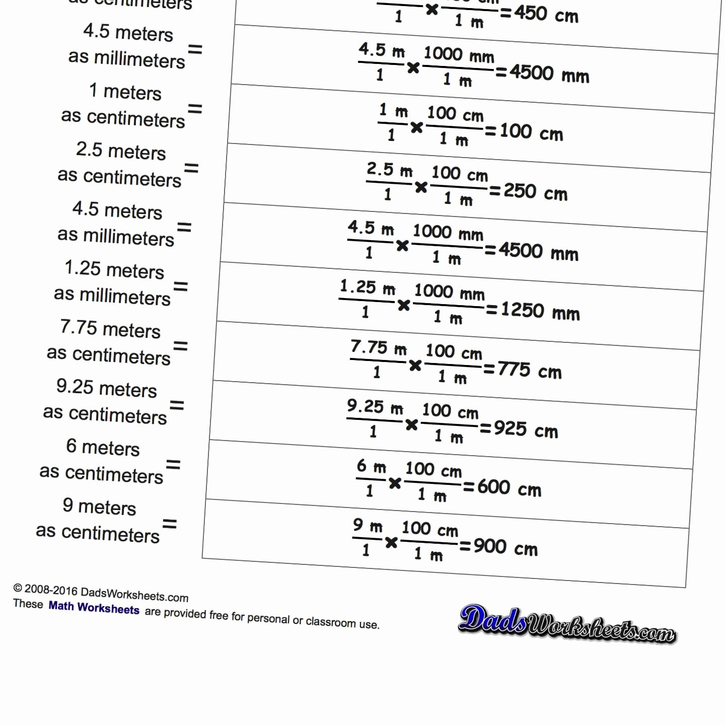 50 Metric Conversion Worksheet Answer Key