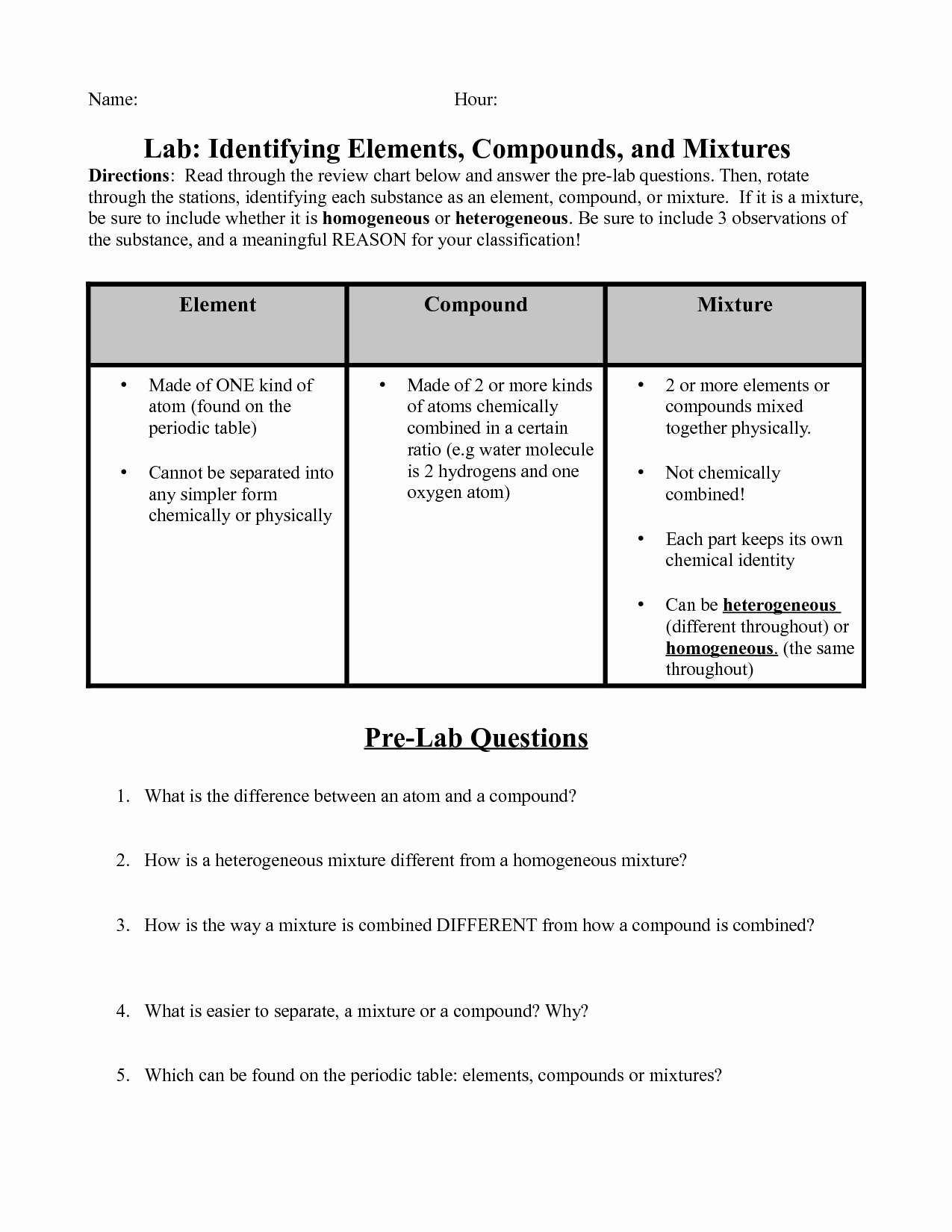Identifying Elements Pounds And Mixtures Worksheet