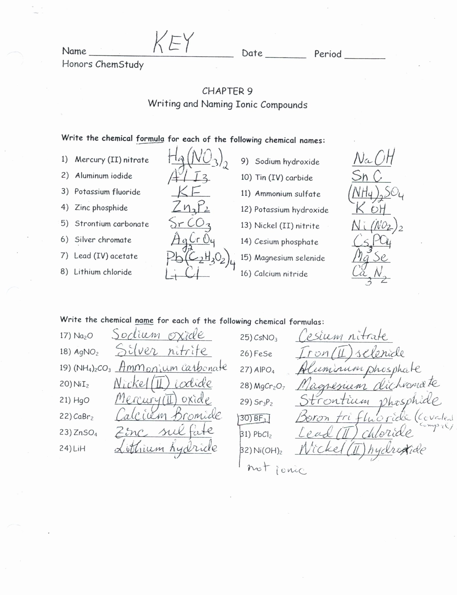 50 Naming Binary Ionic Compounds Worksheet