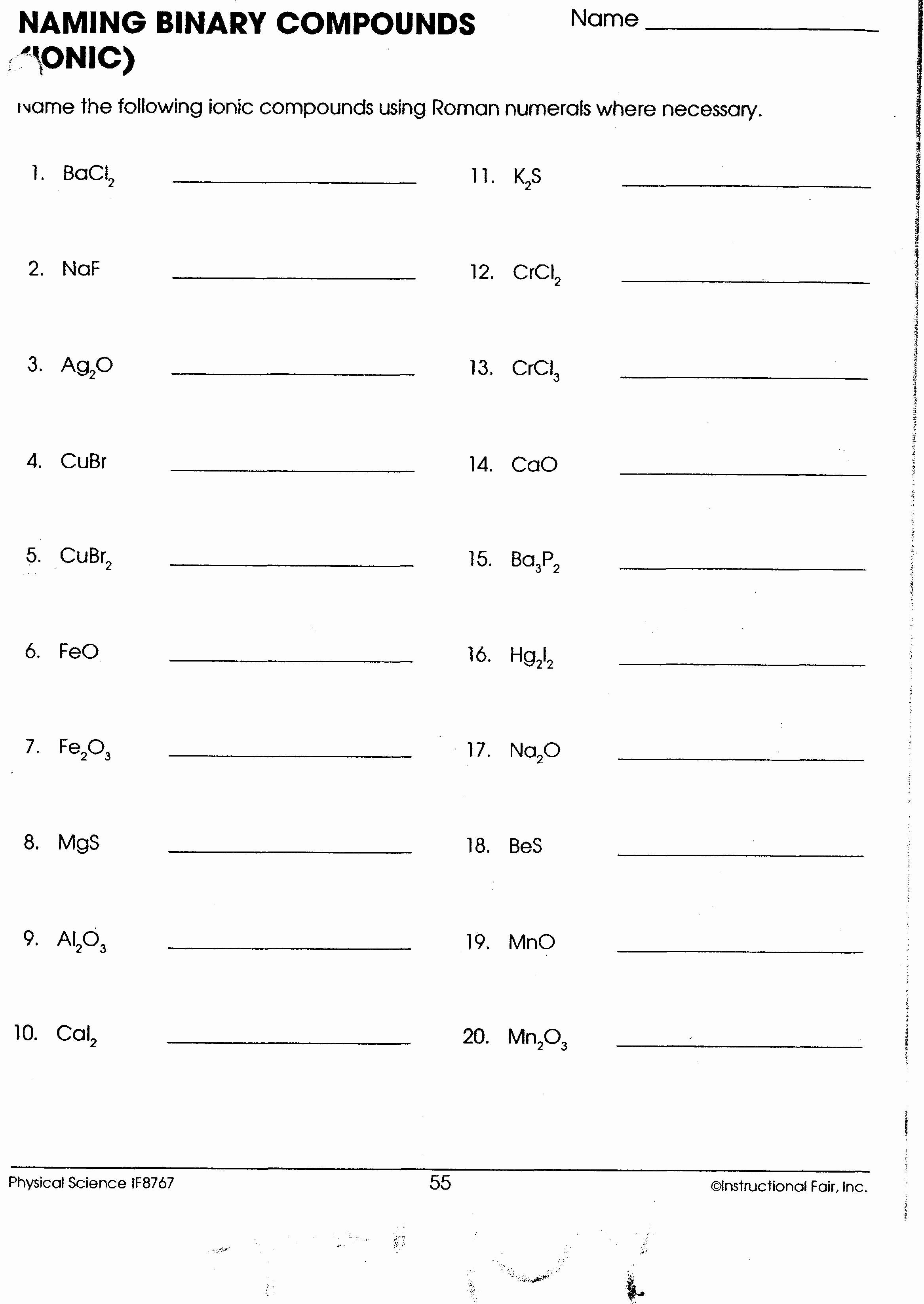 50 Naming Chemical Compounds Worksheet Answers