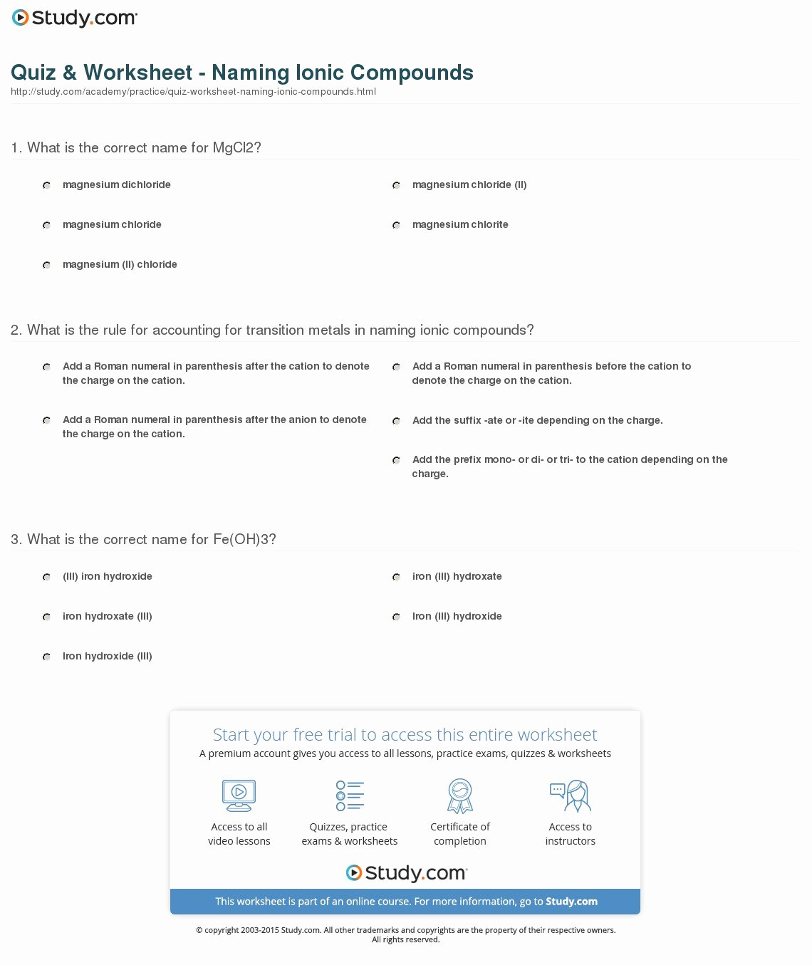 50 Naming Ionic Compounds Worksheet Answers