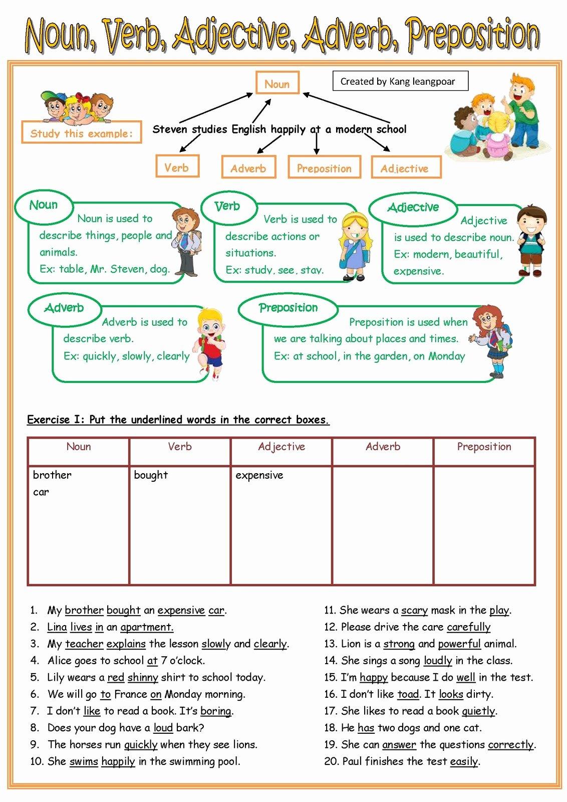 50 Nouns Verbs Adjectives Worksheet
