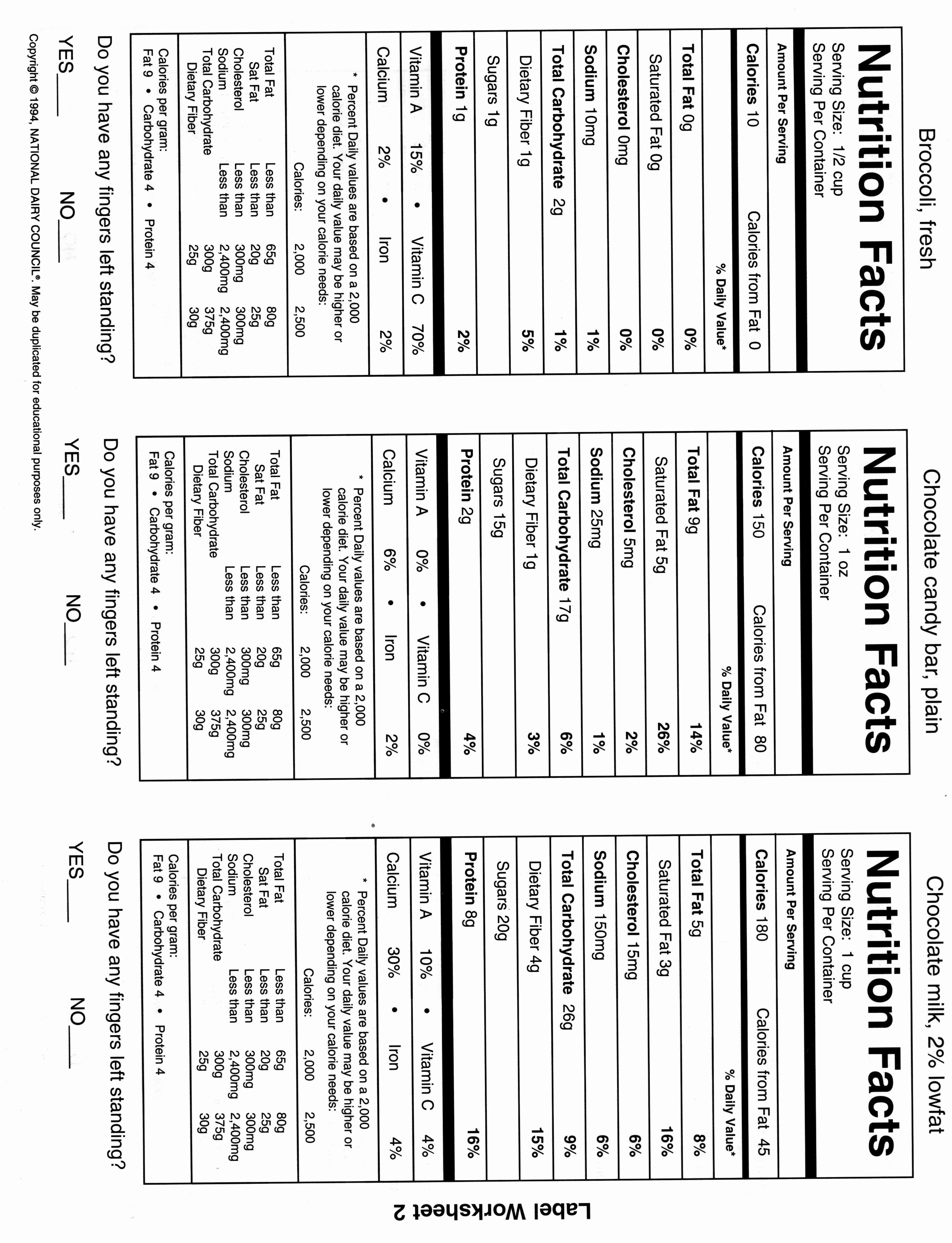 50 Nutrition Label Worksheet Answer Key