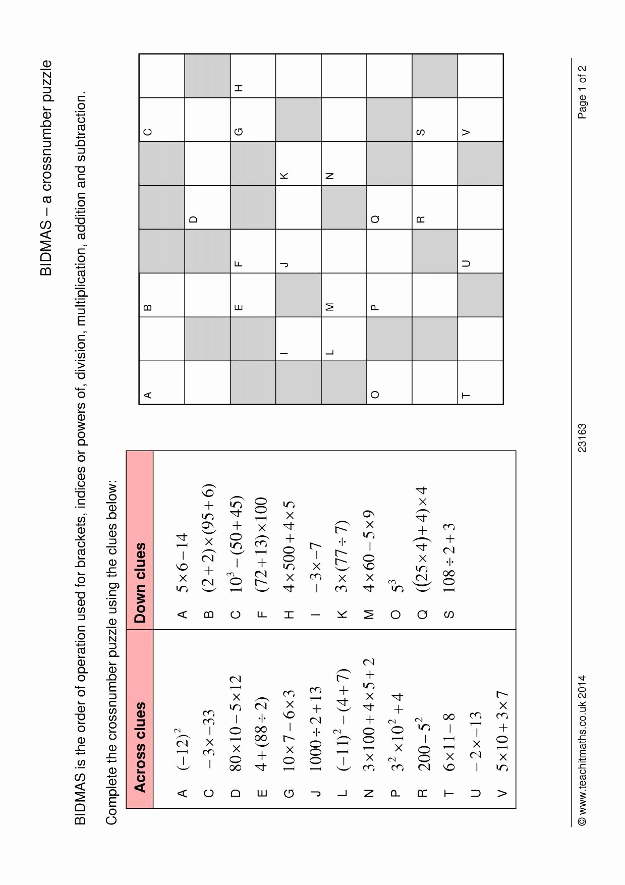 49 Order Of Operations Puzzle Worksheet