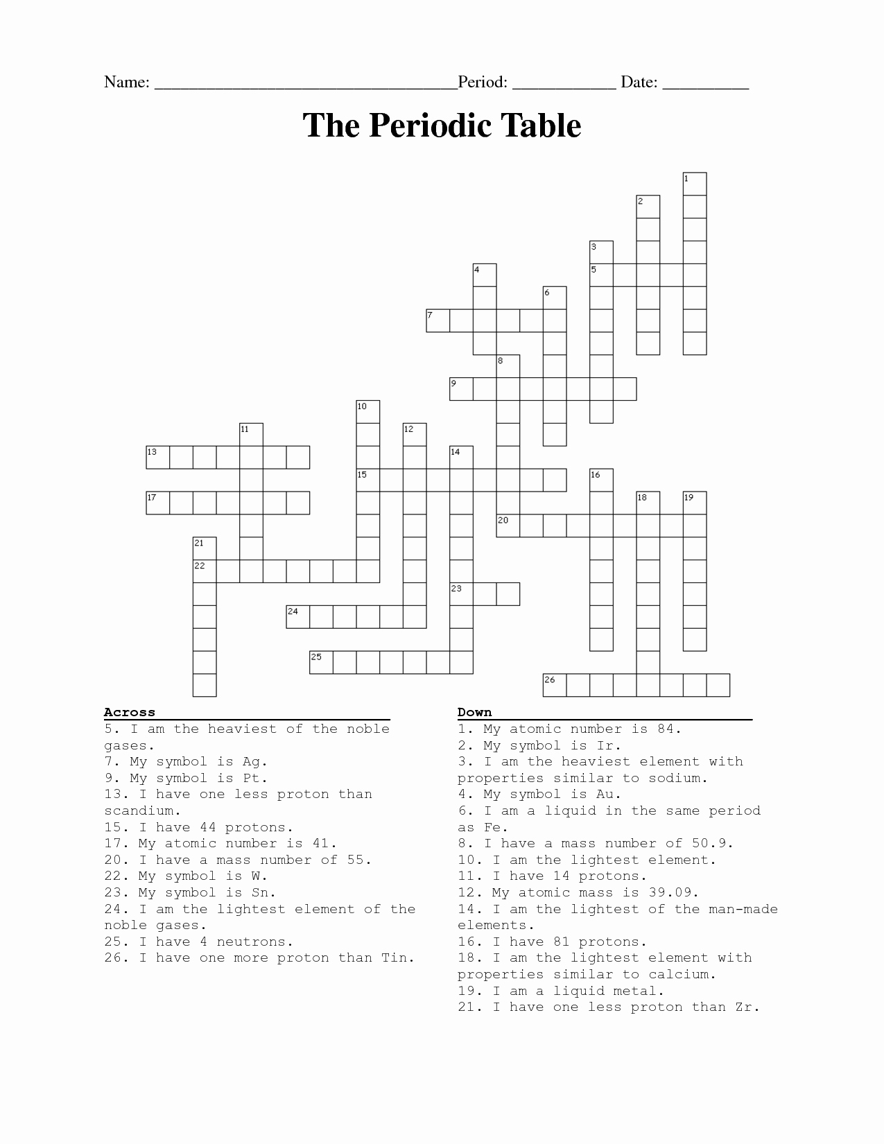 50 Periodic Table Puzzle Worksheet