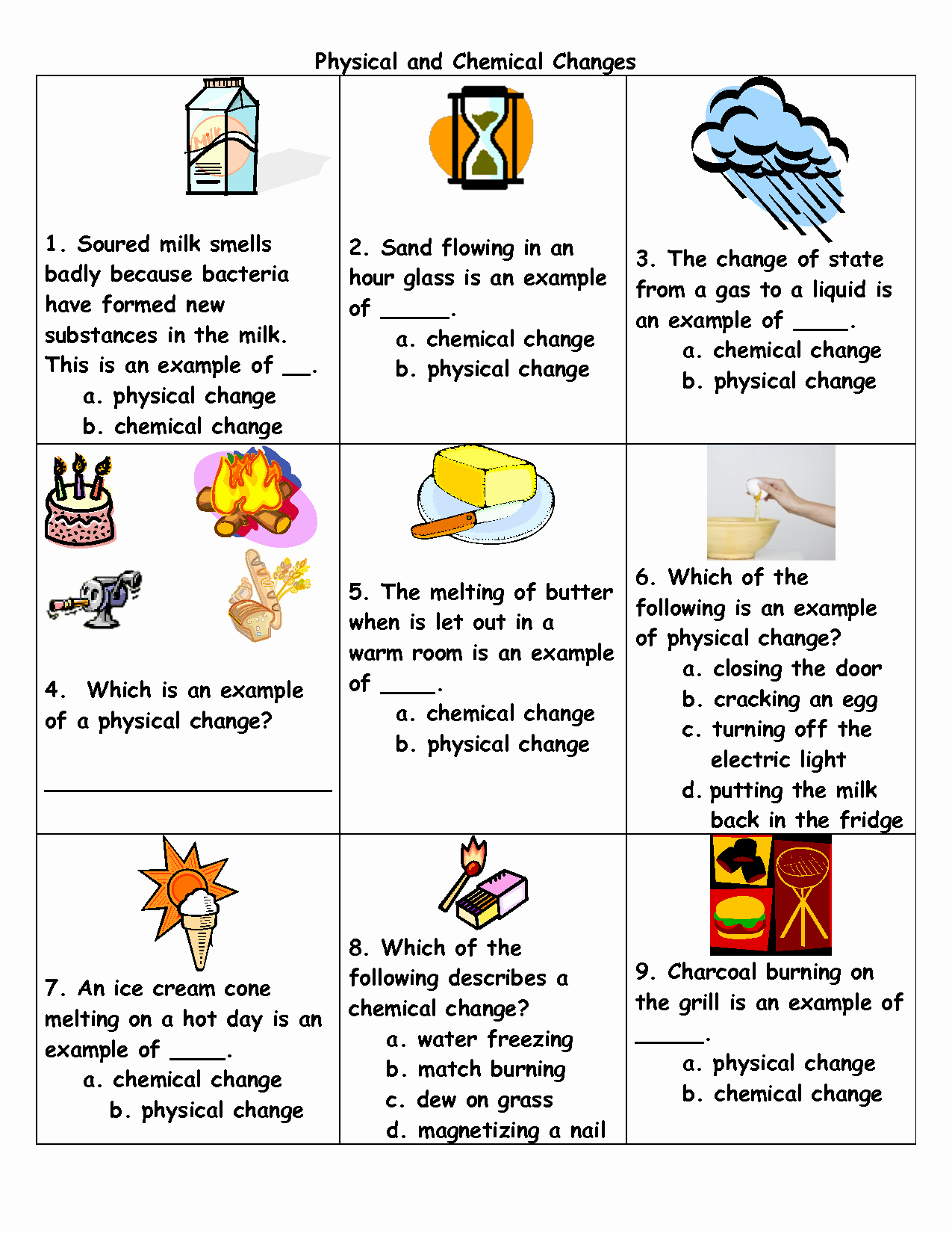 Physical And Chemical Change Worksheet Fresh Chemical And