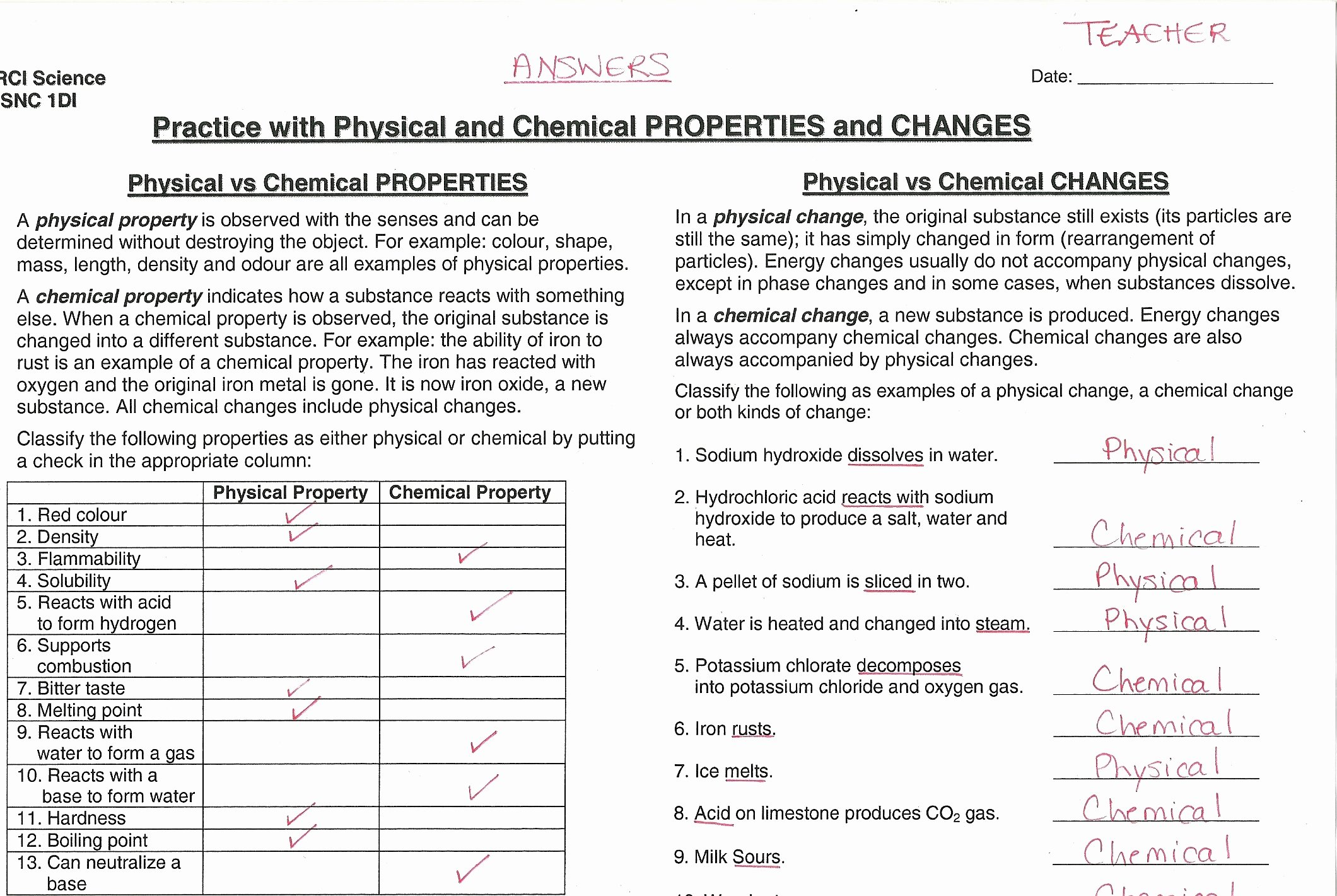 49 Physical And Chemical Properties Worksheet