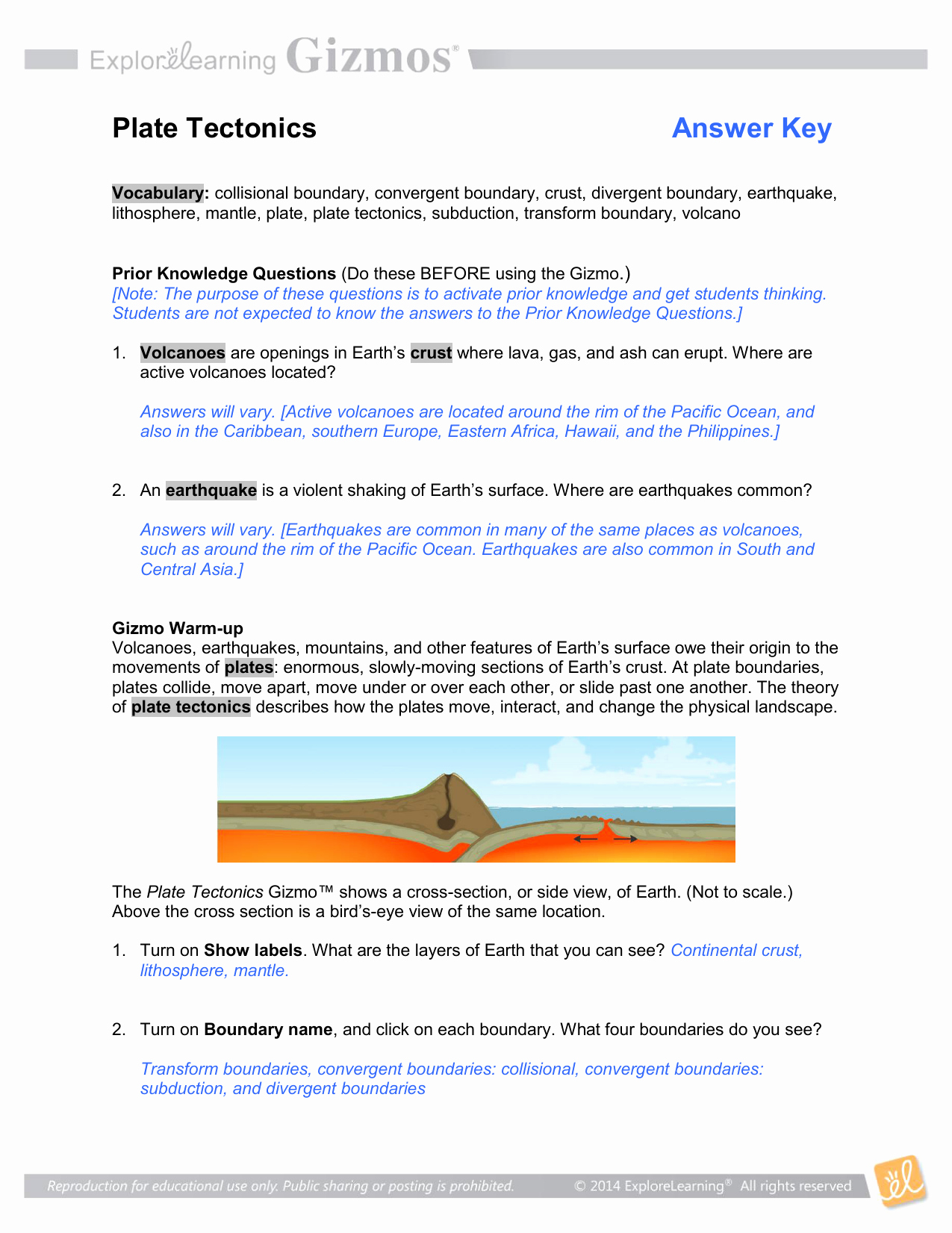 50 Plate Tectonics Worksheet Answer Key