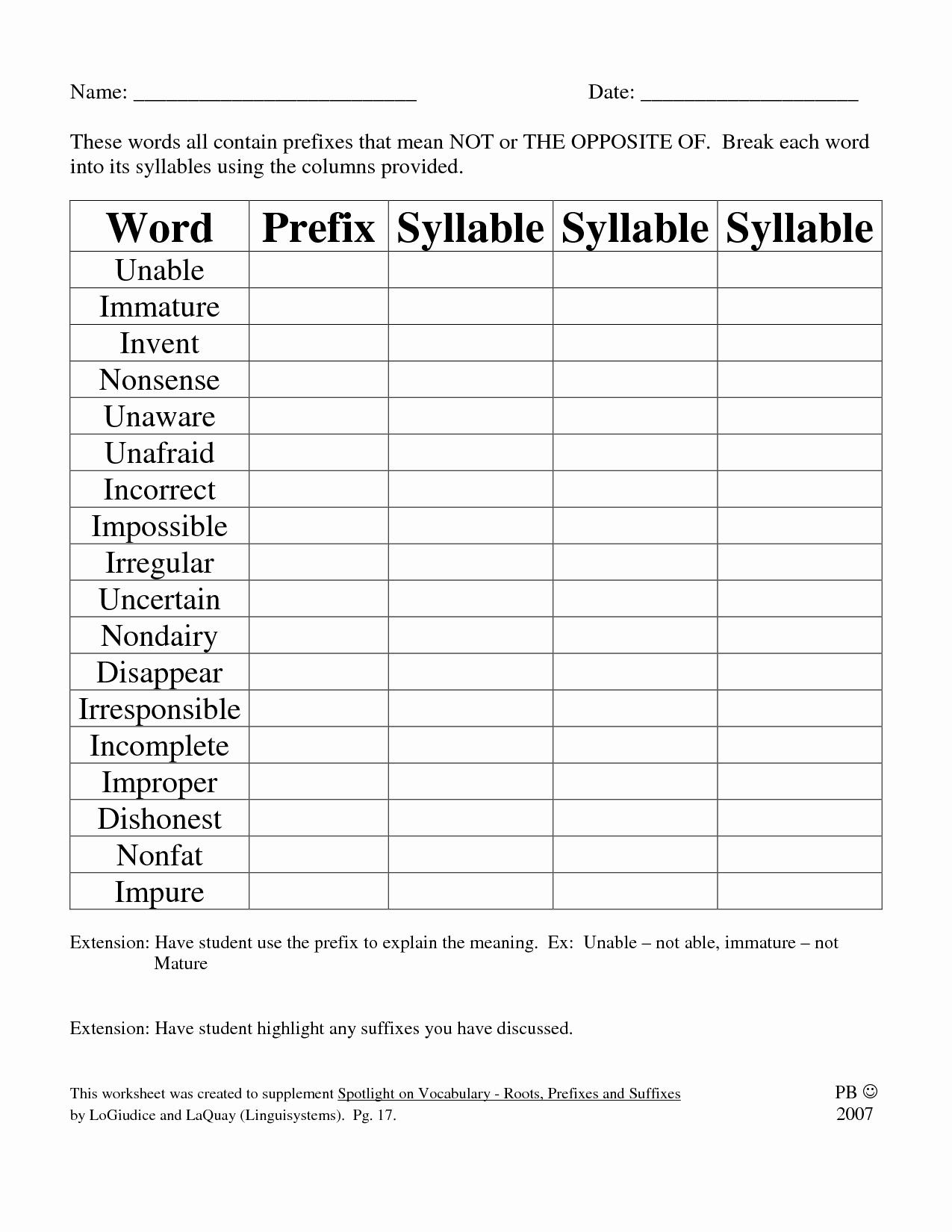 Prefixes And Suffixes Worksheet Unique Worksheets Prefix
