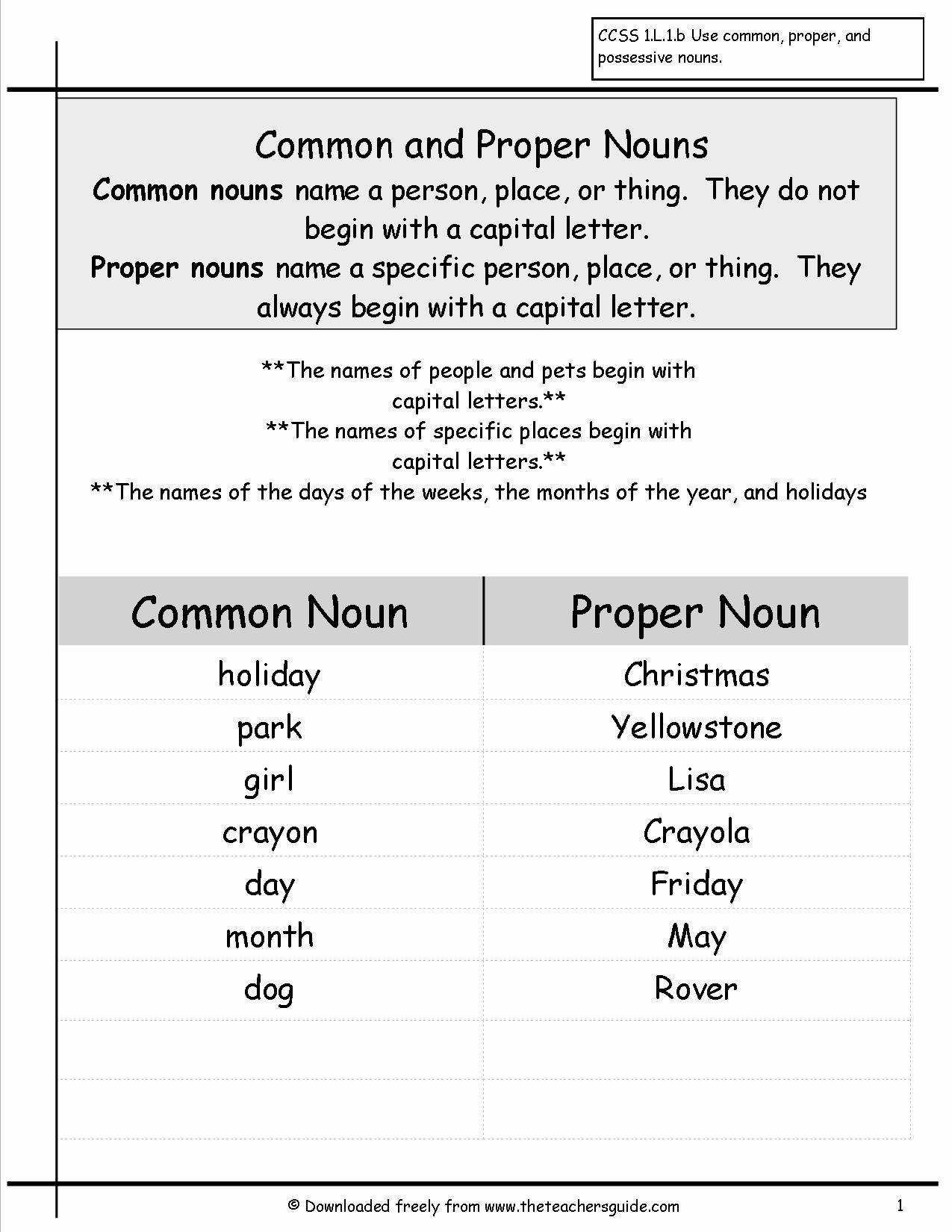 50 Proper Nouns Worksheet 2nd Grade