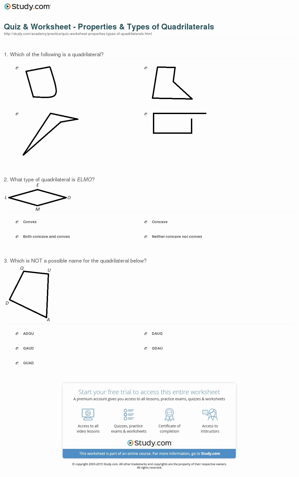 50 Properties Of Quadrilateral Worksheet