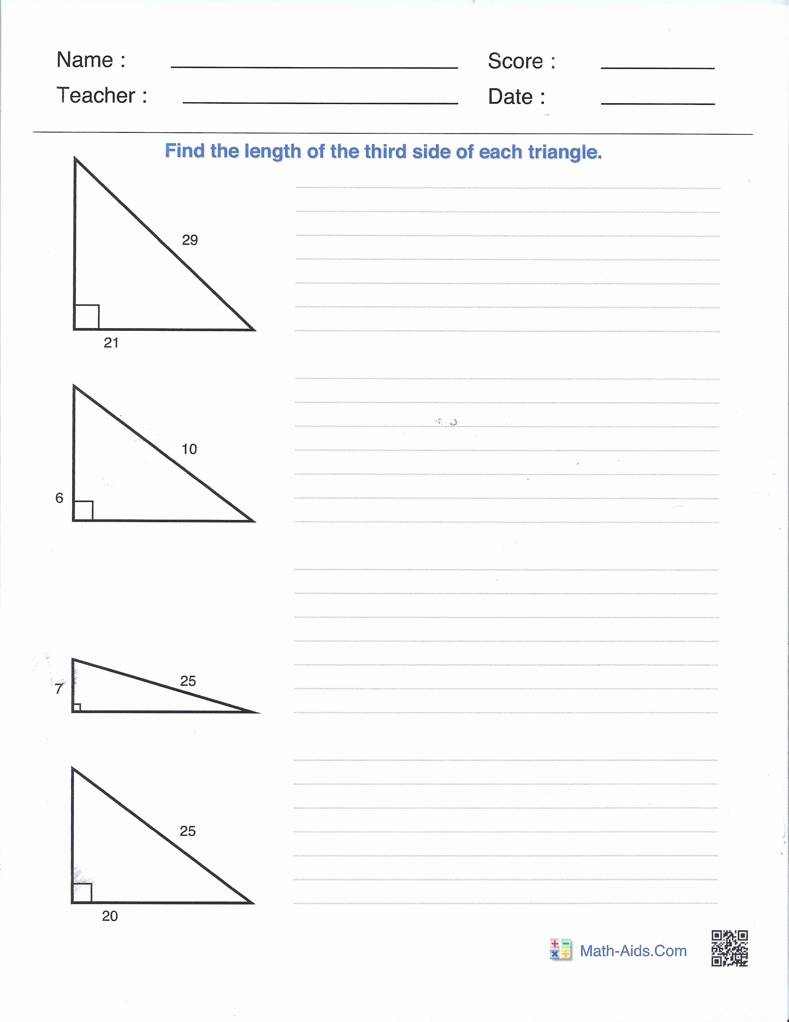 50 Pythagorean Theorem Worksheet With Answers