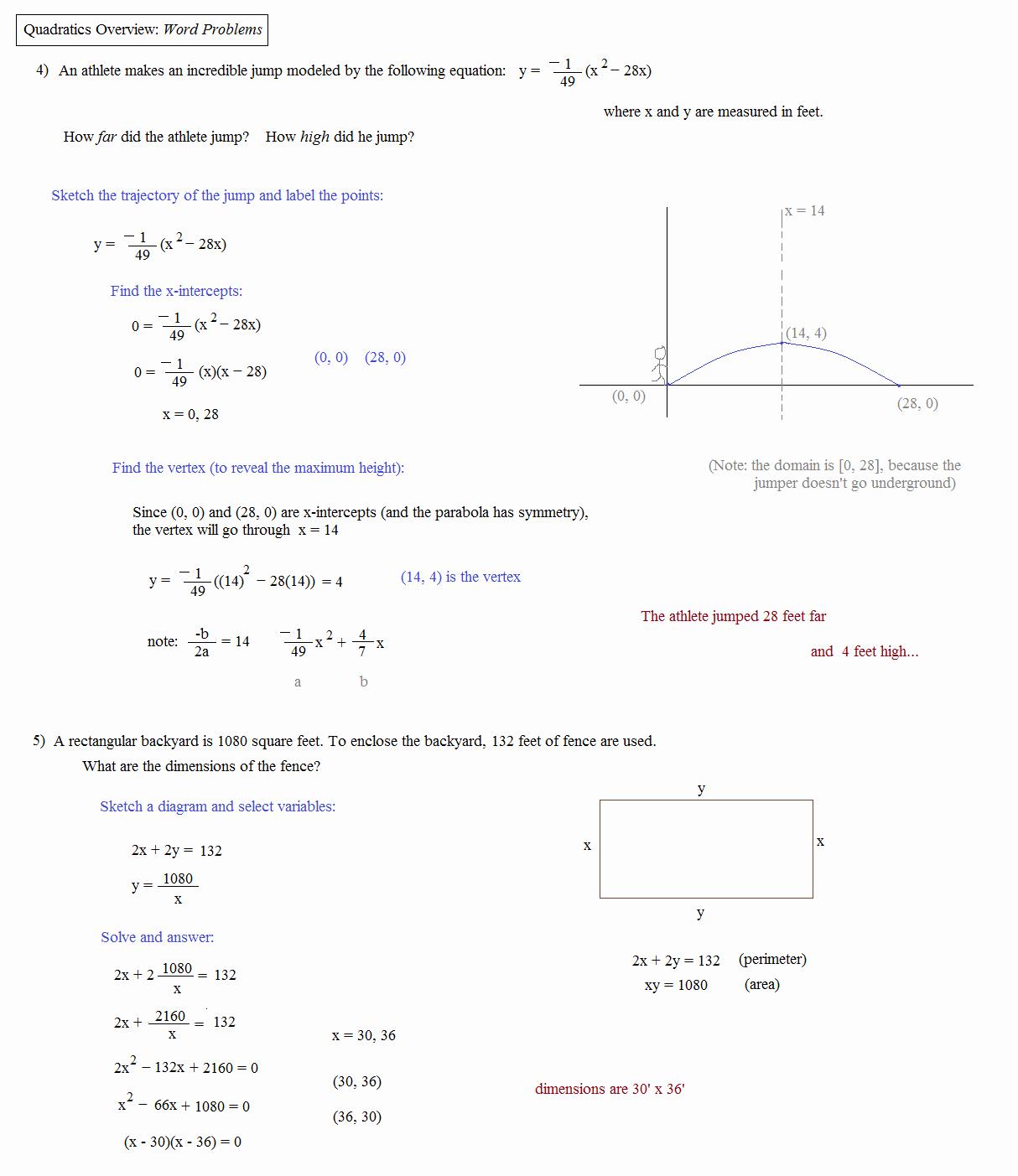 50 Quadratic Equations Word Problems Worksheet