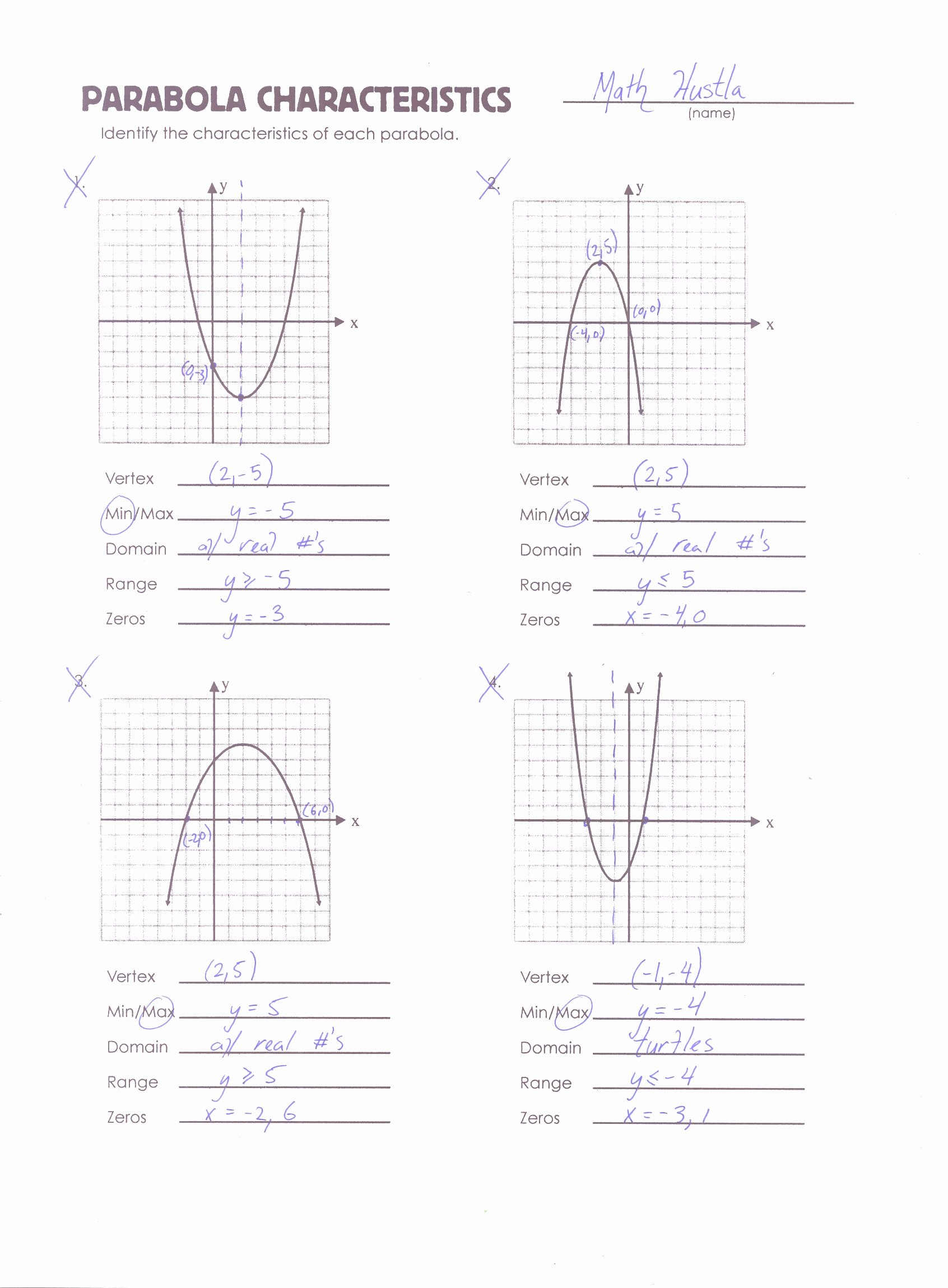50 Quadratic Functions Worksheet With Answers
