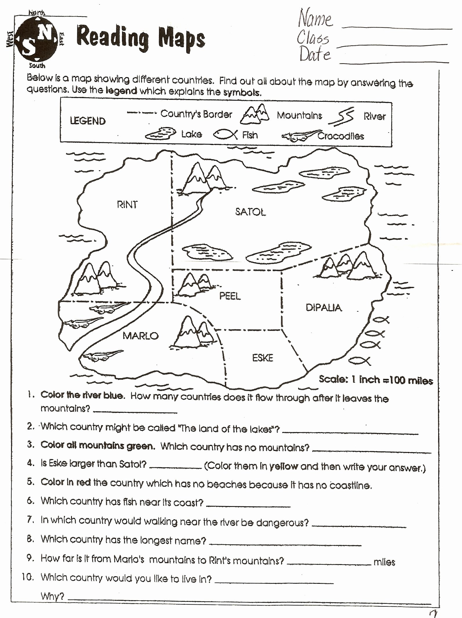 50 Reading A Map Worksheet