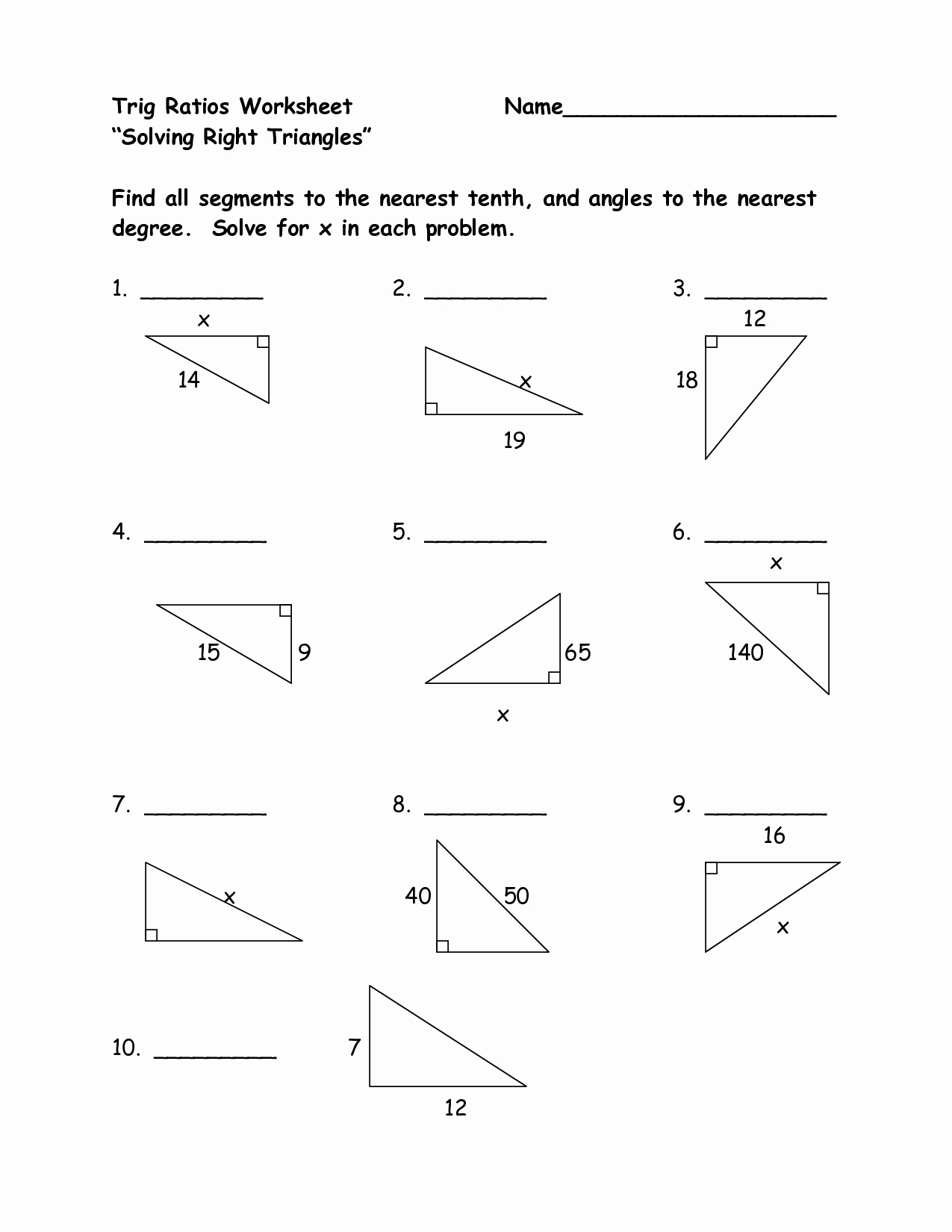 50 Right Triangle Trigonometry Worksheet Answers
