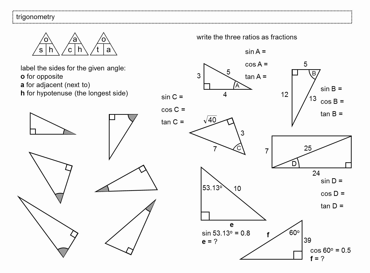 50 Right Triangle Trigonometry Worksheet