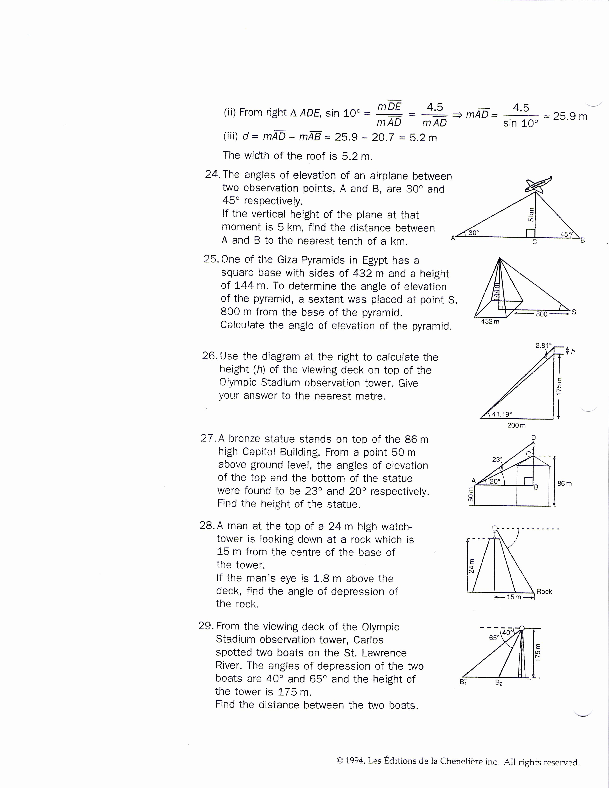 50 Right Triangle Word Problems Worksheet