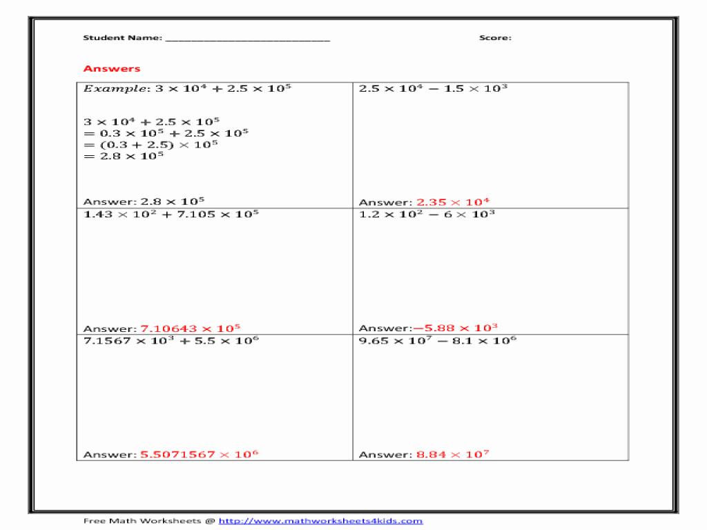 50 Scientific Notation Worksheet 8th Grade
