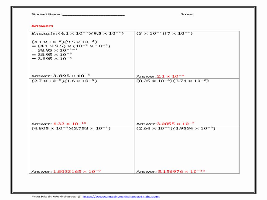 50 Scientific Notation Worksheet Answer Key