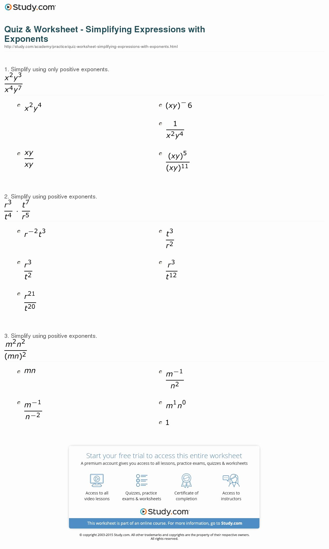 50 Simplifying Radicals Practice Worksheet