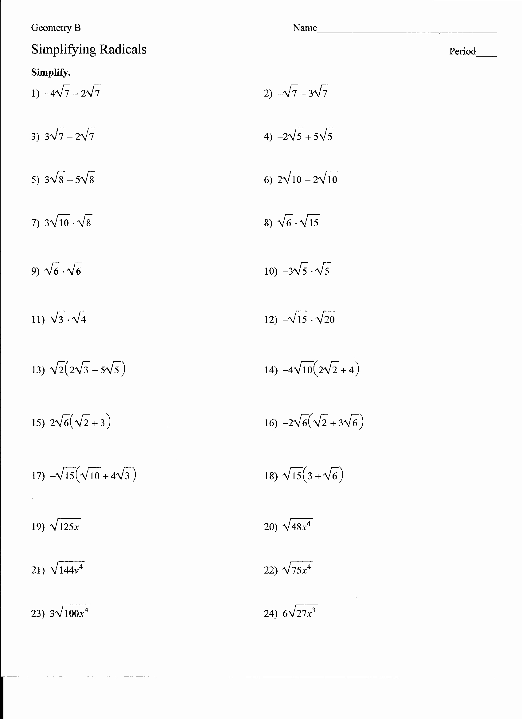 50 Simplifying Radicals Worksheet 1