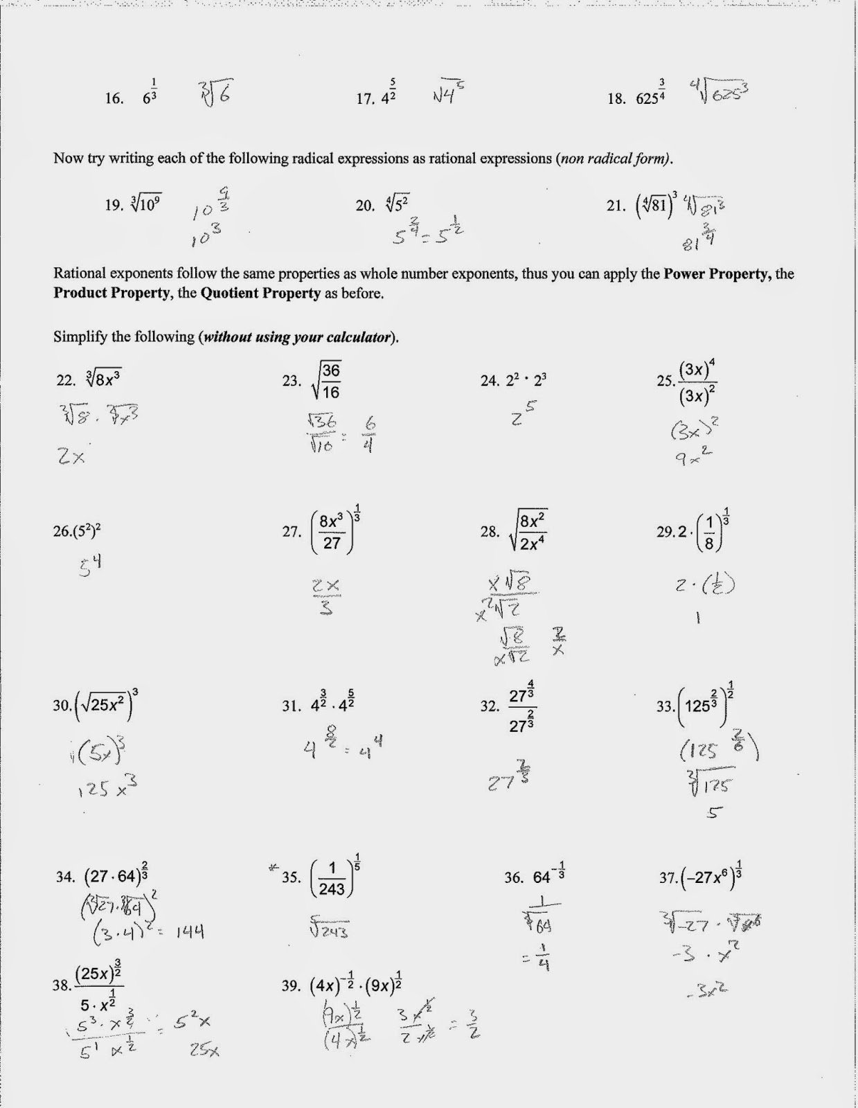 50 Simplifying Radicals Worksheet With Answers