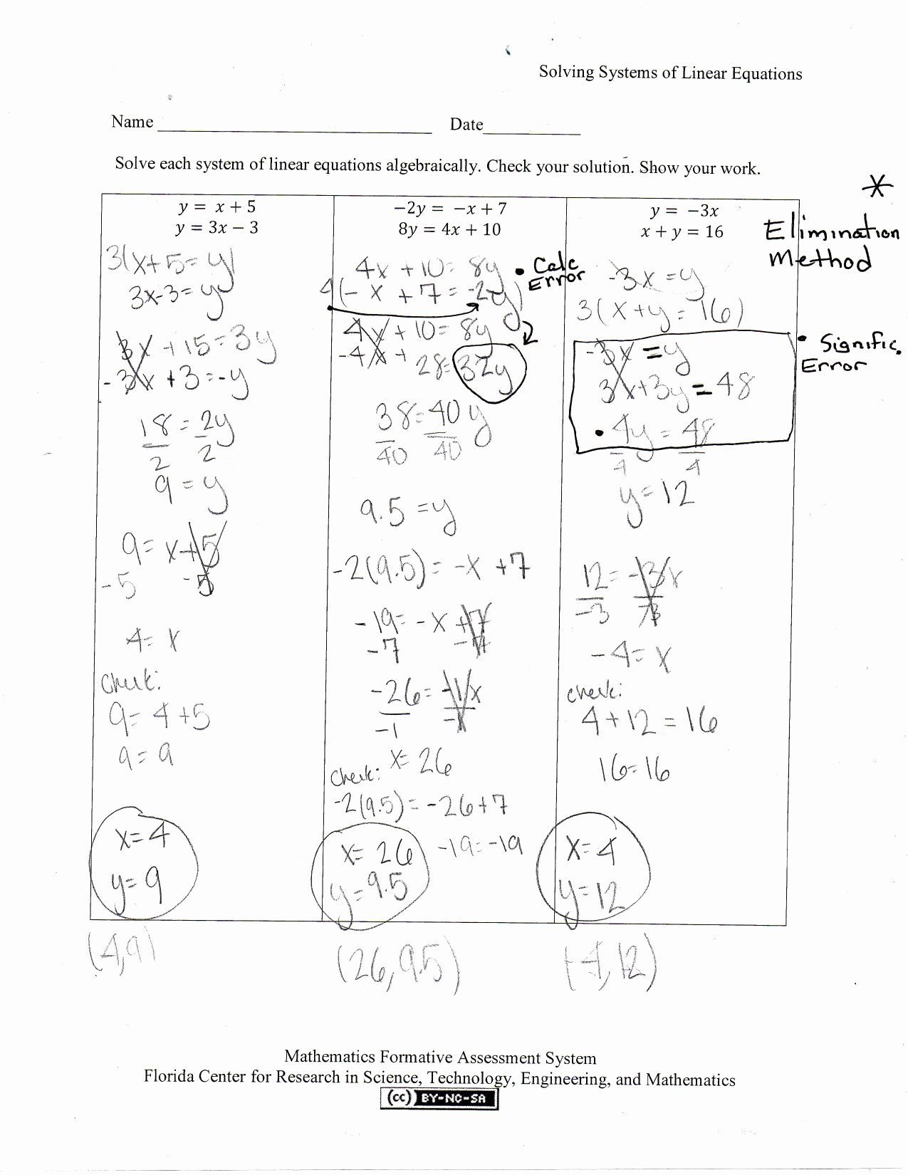 50 Substitution Method Worksheet Answers