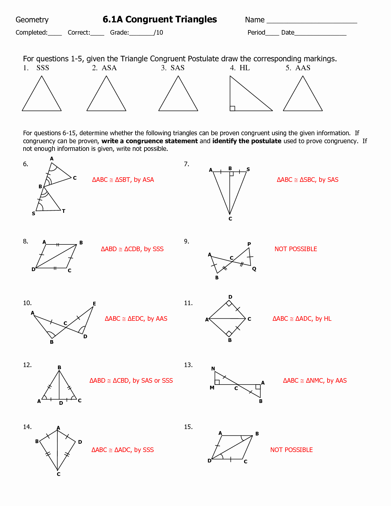 50 Triangle Congruence Worksheet