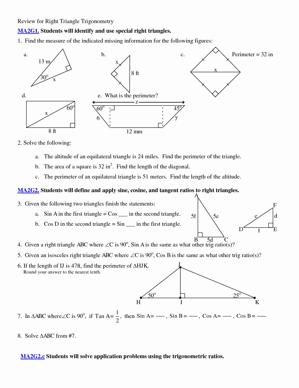 50 Trig Word Problems Worksheet