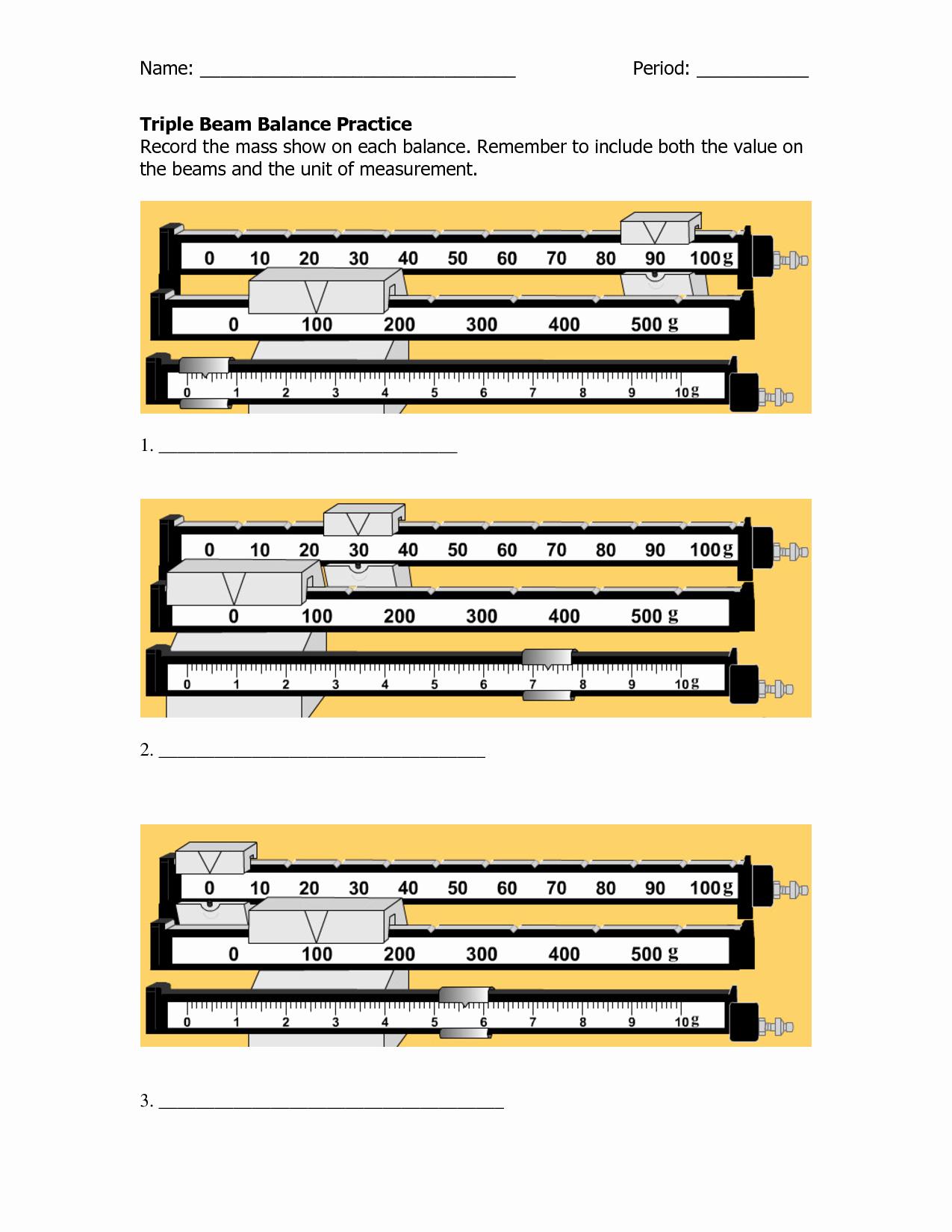 50 Triple Beam Balance Practice Worksheet