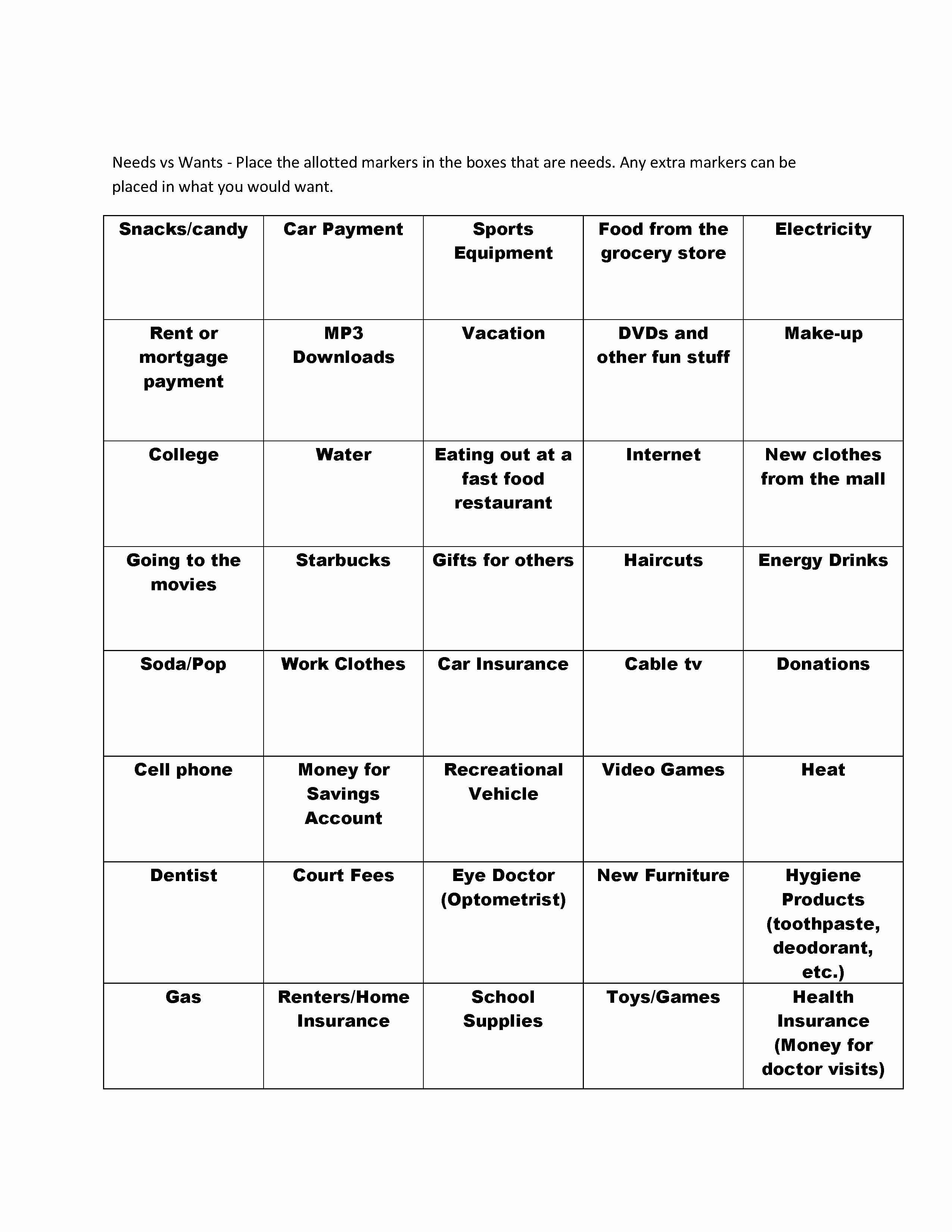 50 Wants Vs Needs Worksheet